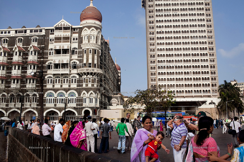The Taj hotel's old building (left) and new building (right) that was attacked in the Mumbai 26/11 in year 2008 faces the Arabian sea on the Marine Drive in Mumbai, India. Photo by Suzanne Lee