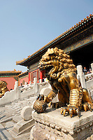 Lion guarding gate in Forbidden City, Beijing, China, Asia