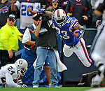 21 September 2008: Buffalo Bills' running back Marshawn Lynch scores a touchdown in the second quarter against the Oakland Raiders at Ralph Wilson Stadium in Orchard Park, NY. The Bills defeated the Raiders 24-23 to mark their first 3-0 start of the season since 1992...Mandatory Photo Credit: Ed Wolfstein Photo
