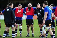 Bath Rugby players huddle together during the pre-match warm-up. Aviva Premiership match, between Bath Rugby and London Irish on March 5, 2016 at the Recreation Ground in Bath, England. Photo by: Patrick Khachfe / Onside Images