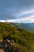 The Presidential Range at sunset from along the Jewell Trail in the White Mountains, New Hampshire USA