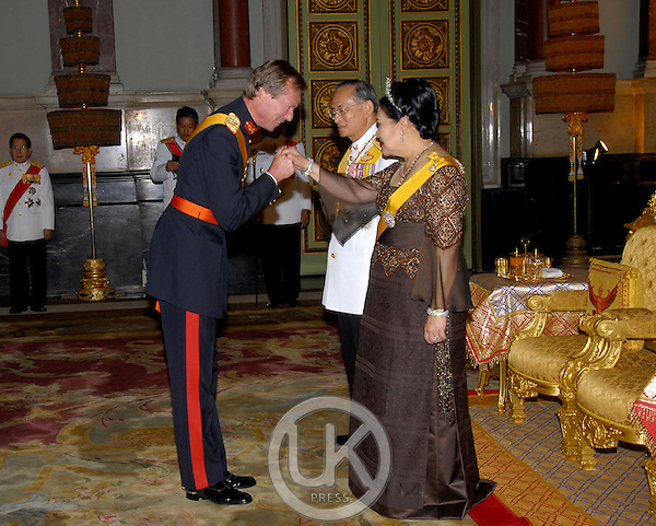 Grand Duke Henri of Luxembourg attends a Banquet for foreign monarchs & royal guests at the Chakri Maha Prasat Throne Hall, hosted by Thai King Bhumibol Adulyadej, during the celebrations to mark the 60th anniversary of his accession to the throne...Pool Picture supplied by UK Press Ltd