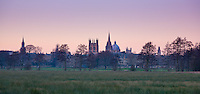 Dreaming Spires of Oxford seen at dusk across Christ Church Meadow
