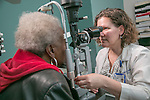 Jullia Rosdahl, MD, PhD, glaucoma specialist, examines a patient at the Duke Eye Center at Page Road, which is conveniently located at the state-of-the-art Duke Medical Plaza Page Road in RTP -- the heart of the North Carolina Triangle (Raleigh, Durham, and Chapel Hill area).
