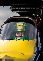 Sept. 1, 2013; Clermont, IN, USA: NHRA top fuel dragster driver Sidnei Frigo during qualifying for the US Nationals at Lucas Oil Raceway. Mandatory Credit: Mark J. Rebilas-