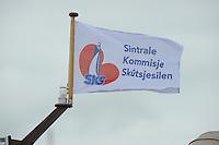 SKUTSJESILEN: GROU: SKS skûtsjesilen, Friese Sporten, 30-07-2011, Fryslân, SKS vlag (Sintrale Kommisje Skûtsjesilen), ©foto Martin de Jong..