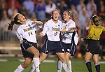 1 December 2006: Notre Dame's Courtney Rosen (14) celebrates scoring the game's first gal with Brittany Bock (10) and Jen Buczkowski (9). The University of Notre Dame Fighting Irish defeated Florida State Seminoles 2-1 at SAS Stadium in Cary, North Carolina in an NCAA Division I Women's College Cup semifinal game.