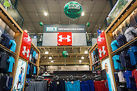 Under Armour branded department in the new Dick's Sporting Goods store in Valley Stream, Long Island, New York on Saturday, July 9, 2016. Dick's recently purchased the intellectual property of its bankrupt competitor Sports Authority with a $15 million bid pending the courts' final approval on July 15.   (© Richard B. Levine)