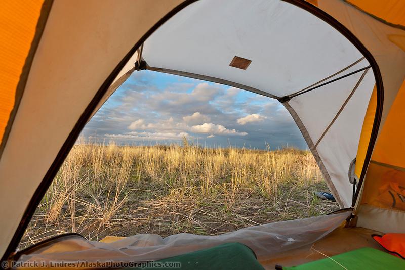 Midnight sun on camp along the Etivluk river, arctic, National Petroleum Reserve, Alaska.