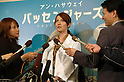 "TV personality Mona Yamamoto, 33, answers questions from reporters during a promotional event for the film ""Passengers"" in Tokyo on Tuesday night. Yamamoto appeared dressed as a therapist (the main character in the film, played by Anne Hathaway, is a therapist). Yamamoto said, ""My dog always relaxes me at home."" Asked about her boyfriend, she said, ""We are getting along with each other,"" but declined to elaborate. ""Passengers"" opens on March 7. 24 February, 2009. (Taro Fujimoto/JapanToday/Nippon News)"