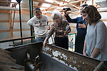 """Sustainability Coordinator at Bowling Green State University, Nick Hennessy, Director of Sustainability at Miami University, Yvette Kline, and Sustainability Coordinator at Oberlin College, Bridget Flynn examine the the machinery of the compost facility with the help of """"student sustainability expert Tess."""" Photo by Olivia Wallace"""