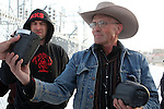 Activists LaVoy Finicum holds two holds two FBI surveillance cameras found at a power station near the Malheur National Wildlife Reserve on January 15, 2016 in Burns, Oregon.  Ammon Bundy and about 20 other protesters took over the refuge on Jan. 2 after a rally to support the imprisoned local ranchers Dwight Hammond Jr., and his son, Steven Hammond. Another surveillance camera was found near the reserve. ©2016. Jim Bryant Photo. All Rights Reserved.