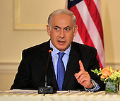 "Prime Minister Benjamin Netanyahu of Israel makes remarks at the event hosted by United States Secretary of State Hillary Rodham Clinton entitled the ""Relaunch of Direct Negotiations Between the Israelis and Palestinians"" in the Benjamin Franklin Room of the U.S. Department of State on Thursday, September 2, 2010.  .Credit: Ron Sachs / CNP.(RESTRICTION: NO New York or New Jersey Newspapers or newspapers within a 75 mile radius of New York City)"