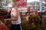 Julia Griffieon cleaning calves' pen, Iowa State Fair, Des Moines, Iowa.