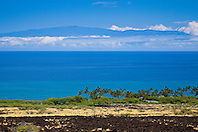 Haleakala volcanic mountain on Maui and KiholoBay, Kohala Coast, Big Island, Hawaii, USA, Pacific Ocean
