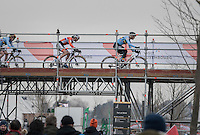 Ellen Van Loy (BEL/Telenet-Fidea) leads in the first lap ahead of Marianne Vos (NED/WM3) &amp; Sanne Cant (BEL) over the bridge<br /> <br /> Women's Race<br /> UCI 2017 Cyclocross World Championships<br /> <br /> january 2017, Bieles/Luxemburg