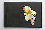 Parsnips with steelhead roe, frozen yogurt and cress