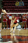 18 November 2005: Ashley Grubb sails in for the dig. Missouri State Bears clawed their way past the Illinois State Redbirds in 4 games to take the match played at Redbird Arena in Normal Illinois.