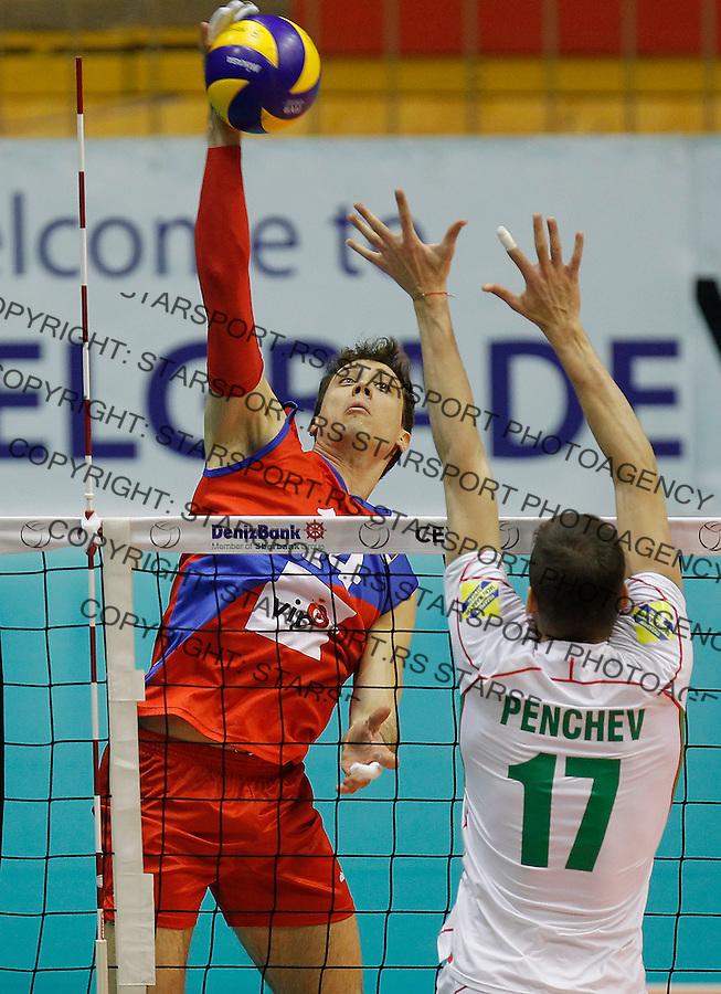 Odbojka Volleyball<br /> Srbija v Bugarska-Prijateljski mec<br /> Aleksandar Atanasijevic (L)<br /> Beograd, 29.12.2015.<br /> foto: Srdjan Stevanovic/Starsportphoto &copy;