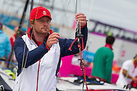 ENGLAND, Weymouth. 8th August 2012. Olympic Games. Ben Rhodes (GBR) 49er Crew before the Medal Race.