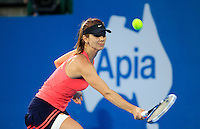 Tsvetana Pironkova of Bulgaria returns to Angelique Kerber of Germany during their final match at the Sydney International tennis tournament, Jan. 10, 2014.  Daniel Munoz/Viewpress IMAGE RESTRICTED TO EDITORIAL USE ONLY