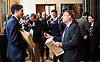 Ed Miliband <br /> leader of the Labour Party <br /> speech at RIBA Royal Institute of British Architecture, London, Great Britain <br /> 29th April 2015 <br /> General Election Campaign 2015 <br /> <br /> <br /> Labour activists holding 'The Tories' Secret Plan' brown envelopes being handed to delegates and press with journalist Michael Crick <br /> <br /> Photograph by Elliott Franks <br /> Image licensed to Elliott Franks Photography Services