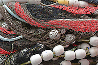 Colorful salmon seine commercial fishing nets, Sitka, Alaska, USA