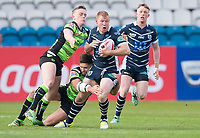 Picture by Allan McKenzie/SWpix.com - 11/05/2017 - Rugby League - Ladbrokes Challenge Cup - Featherstone Rovers v Halifax RLFC - The LD Nutrition Stadium, Featherstone, England  - Featherstone's Ian Hardman is tackled by Halifax's Steve Tyrer & Connor Robinson.