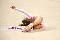 August 22, 2008; Beijing, China; Rhythmic gymnast Almudena Cid of Cid performs with ribbon in qualifying to place 8th eventually in the All-Around final at 2008 Beijing Olympics. Almudena's 4th Olympics!.