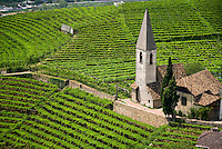 Bolzano, South Tyrol, June 2007. The church in St Magdalena is surrounded by vineyards. Thehills around Bolzano are home to most of the wine production in region of South Tyrol. South Tyrol used to be part of Austria until it became part of Italy after WWI. Photo by Frits Meyst/Adenture4ever.com