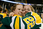 ST CHARLES, MO - MARCH 19:  Corie Jacobson (2) and Cassidy Vinkle (22) of the Clarkson Golden Knights celebrate the Clarkson victory over the Wisconsin Badgers to win the Division I Women's Ice Hockey Championship held at The Family Arena on March 19, 2017 in St Charles, Missouri. Clarkson defeated Wisconsin 3-0 to win the national championship. (Photo by Mark Buckner/NCAA Photos via Getty Images)