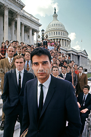 Ralph Nader and Nader's Raiders on steps of U.S. Capitol, Washington D.C. 1969. Photo by John G. Zimmerman.