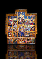 Altarpiece of the Virgin by JAUME SERRA Circa 1367-1381. Tempera, gold leaf and metal plate on wood (346.3 x 321 x 26 cm) MNAC - National Museum of Catalan art, Barcelona, Spain Inv No: 015916-CJT