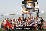 27 August 2011: The Western New York Flash team and staff pose under the scoreboard after the game. Western New York Flash defeated the Philadelphia Independence 5-4 on penalty kicks to win the final after the game ended in a 1-1 tie after overtime at Sahlen's Stadium in Rochester, New York in the Women's Professional Soccer championship game.
