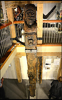 BNPS.co.uk (01202 558833)<br /> Pic: BournemouthUniversity/BNPS<br /> <br /> The 28ft rudder which is now on display at Poole Museum.<br /> <br /> A huge 17th century ship wreck stumbled upon by chance by a dredger has been identified as a wealthy Dutch trading vessel that was ransacked by locals. <br /> <br /> The Fame, a 130ft long armed merchant ship, capsized and sank at the entrance to Poole Harbour in Dorset in 1631 while taking shelter from a storm en route to the West Indies.<br /> <br /> The wreck was discovered by a local dredger in the 1990s which triggered a huge archaeological operation hailed as the most significant since the Mary Rose.<br /> <br /> Experts discovered that virtually all of the port side of the ship still lies intact in 30ft of water. <br /> <br /> They recovered and brought to the surface opulent wooden carvings of mermen that would have covered the ship as well as the 28ft long rudder section which had the face of a moustachioed warrior carved into it.