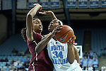 31 January 2013: North Carolina's Xylina McDaniel (right) and Florida State's Chelsea Davis (left). The University of North Carolina Tar Heels played the Florida State University Seminoles at Carmichael Arena in Chapel Hill, North Carolina in an NCAA Division I Women's Basketball game. UNC won the game 72-62.