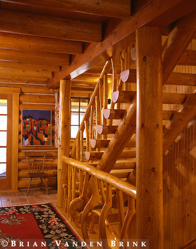 Design: Whitten & Winkleman Architects.Private Log Home.Oquassic, Me.#2257