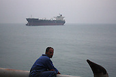 AL-BASRA OIL TERMINAL, IRAQ: Oil tanker waits to be towed into the Basra Oil Terminal..