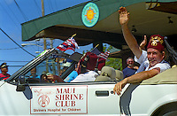 Members of the Maui Shrine Club participate in the annual Fourth of July Makawao Rodeo Parade in the upcountry town of Makawao. Maui's cowboy or paniolo town got its start in the early 1800s as a support community for the upcountry cattle ranches.