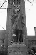 New Haven, CT. May 2nd 1970 Yale University.<br /> A statue of Yale's first Rector, Abraham Pierson, has tape across it's mouth during a student demonstration. Yale students went on strike to support the Black Panther Party while several party leaders stood trial on trial. The May Day weekend demonstration protested the perceived unfairness in the trial of Black Panther Chairman Bobby Seale and other party members and drew 15,000 to 20,000 protesters from around the US, including the Yale students. Clashes with police in preceding days led to the relatively peaceful demonstration on the weekend of May 1, 1970.