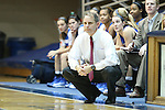 17 November 2012: Presbyterian head coach Ronny Fisher. The Duke University Blue Devils played the Presbyterian College Blue Hose at Cameron Indoor Stadium in Durham, North Carolina in an NCAA Division I Women's Basketball game. Duke won the game 84-45.