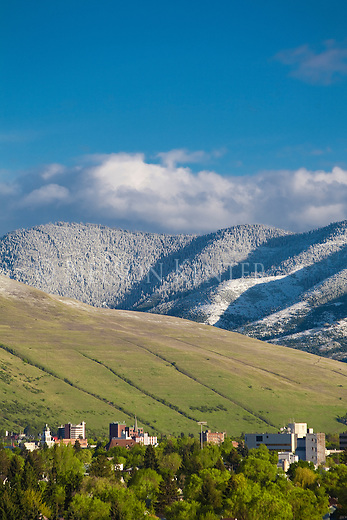 The Missoula, Montana valley with a late spring snow on the higher elevation hills