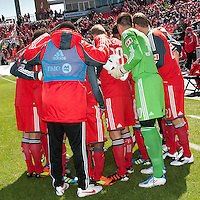 31 March 2011: The Toronto FC team huddle during a game between the Columbus Crew and the Toronto FC at BMO Field in Toronto, Ontario Canada..The Columbus Crew won 1-0.