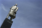 Eight years after Tajik independence was declared, in 1991, from the Soviet Union a statue of Vladimir Illiych Lenin still stands in the northern city of Khojand, Tajikistan.