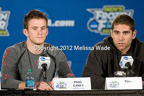Paul Carey (BC - 22), Tommy Cross (BC - 4) - The Boston College Eagles practiced on Wednesday, April 4, 2012, during the 2012 Frozen Four at the Tampa Bay Times Forum in Tampa, Florida.