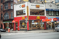 A McDonald's Express restaurant in the Hudson Square neighborhood of New York on Sunday, January 22, 2017. (© Richard B. Levine)