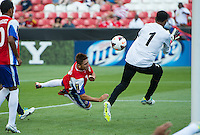 SANDY, UT - July 13, 2013: Costa Rica National Team midfielder Mauricio Castillo (7) during the Costa Rica vs Belize match at Rio Tinto Stadium in Sandy, Utah. Final score Costa Rica 1, Belize 0.