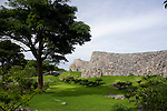 Photos shows the ramparts that guard the southernmost side of the Ushimi riding field -- believed to have once been a field used to train war horses -- of Nakajin Castle ruins in Nakajin VILLAGE, Okinawa Prefecture, Japan, on May 20, 2012. Photographer: Robert Gilhooly