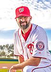 28 February 2016: Washington Nationals pitcher Burke Badenhop poses for his Spring Training Photo-Day portrait at Space Coast Stadium in Viera, Florida. Mandatory Credit: Ed Wolfstein Photo *** RAW (NEF) Image File Available ***