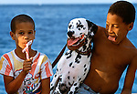 Like most other people, Cubans have a passion for dogs, whether purebred or mongrel. Here two boys play with their Dalmatian on the Malecón in Havana, Cuba.